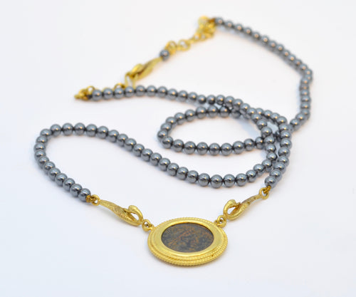 22K Gold with  Roman Coin Hematite Necklace