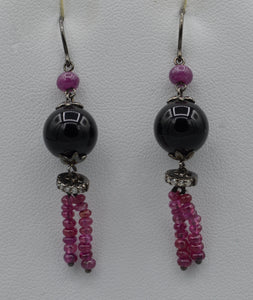 "14K white gold dangle earrings 1 1/2"" long with onyx, Rubies and Diamonds"