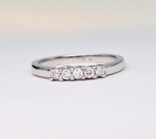 14K White gold band ring with 5 Diamonds