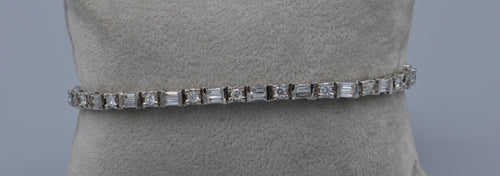 14K white gold diamond bracelet with alternating baguettes and round diamonds