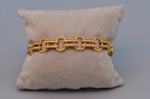 18K yellow gold link bracelet set with diamonds
