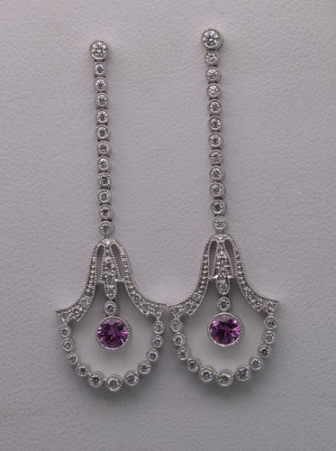 18K white gold dangle earrings with Diamonds and Pink Sapphires