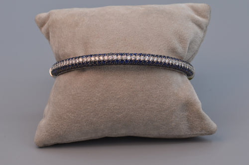 18K White Gold Sapphire and Diamond Bangle Bracelet