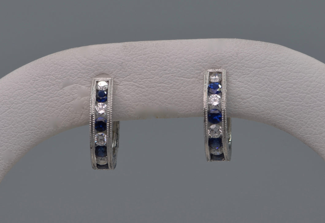 18K white gold hoop earrings with Diamonds & Sapphires