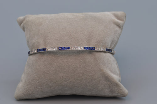 14K White Gold Edwardian-style Sapphire and Diamond Bangle Bracelet