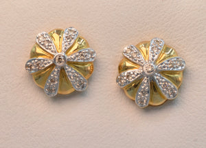 14K yellow gold post earrings with pave diamond trims.