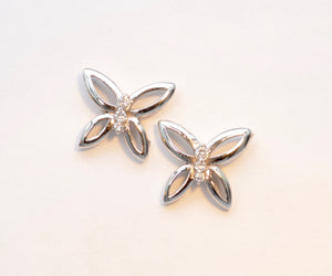 14K White Gold and Diamond Butterfly Earrings