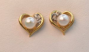 14K yellow gold cultured pearl and diamond post earrings