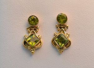 18K yellow gold handmade Peridot earrings