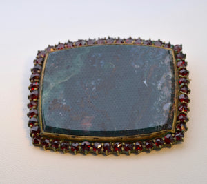 Large Bohemian Garnet Brooch with deep green Moss Agate