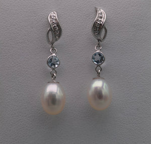 14K white gold pearl drop earrings with Diamonds and Blue Topaz