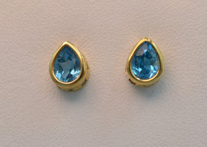 14k yellow gold pear shape Blue Topaz post earrings