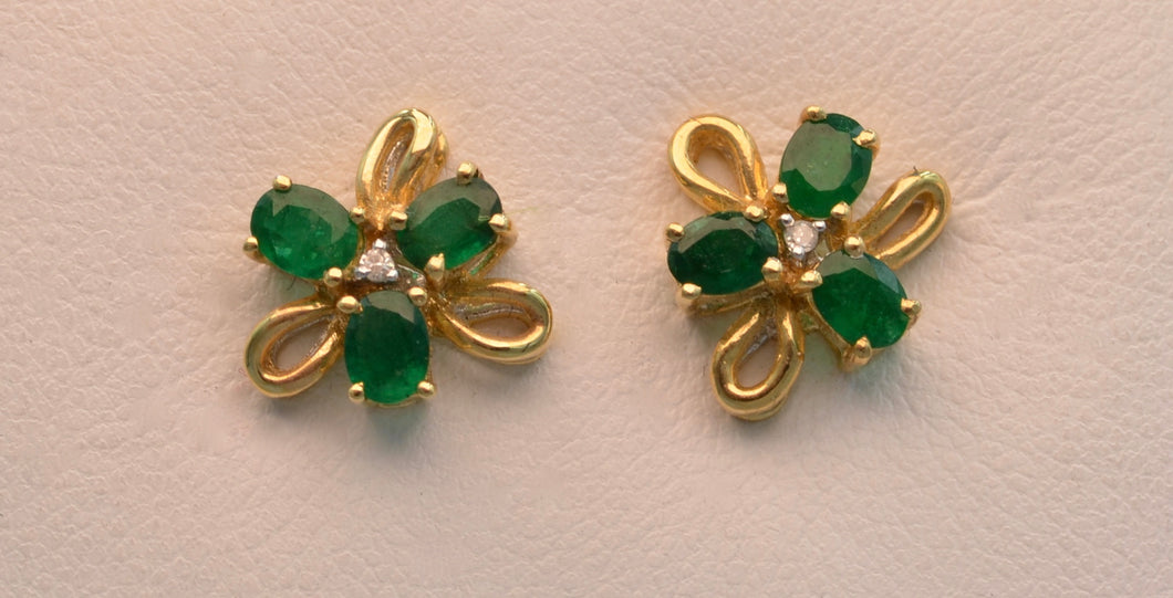 14k yellow gold post earrings with Emeralds and diamonds