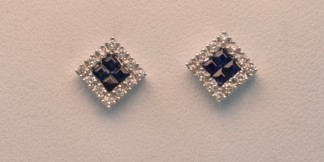 18K white gold Sapphire and diamond post earrings