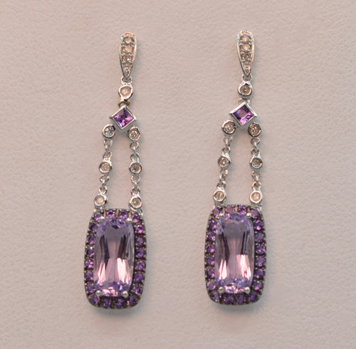 14K Diamond and Amethyst dangle earrings