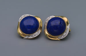 14K yellow gold Lapis Lazuli earrings