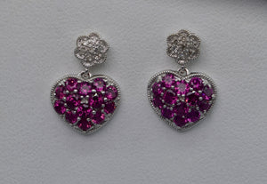14K white gold heart-shaped dangle earrings with Pink Garnets and Diamonds