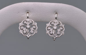 18K white gold Edwardian-style earrings with Diamonds