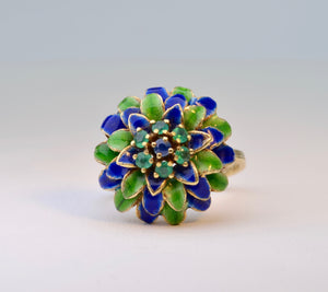 Enamel Flower Ring with Emerald and Sapphire Accents in 14K Yellow Gold