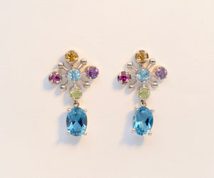 Colored Gemstone Earrings set in 14K White Gold