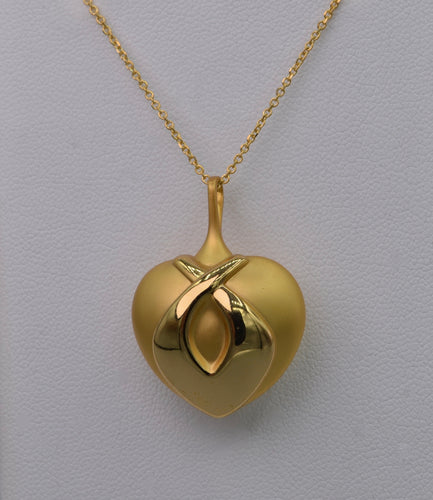 18K yellow gold Charles Garnier heart-shaped pendant