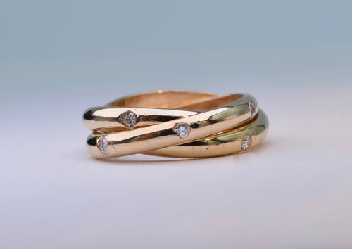 14K Yellow gold Cartier-Style roller rings with 4, 5 and 6 diamonds each