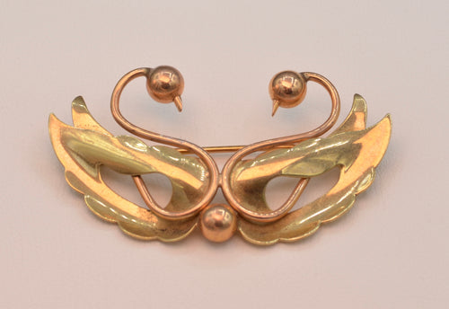 14K Two Lovebirds Brooch