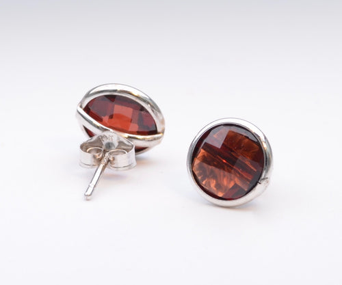 14K White Gold Bezel Set Garnet Earrings