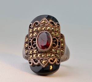 Onyx Marcasite Garnet Ring in Sterling Silver