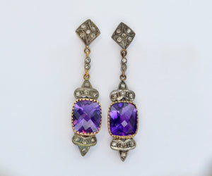 Amethyst Earrings with Diamonds set in Silver and 18K Yellow Gold