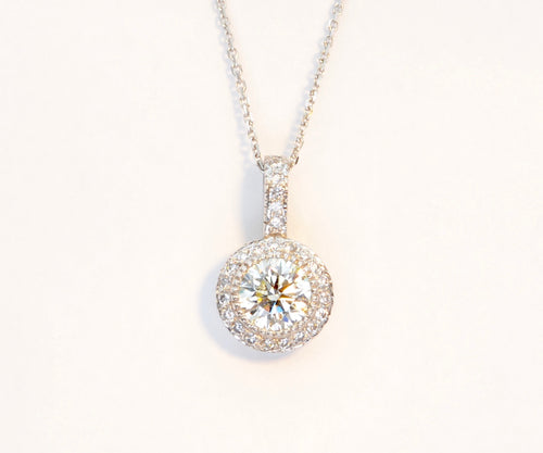 1.35 Carat Diamond Pendant with Diamond-Studded 14K White Gold Frame