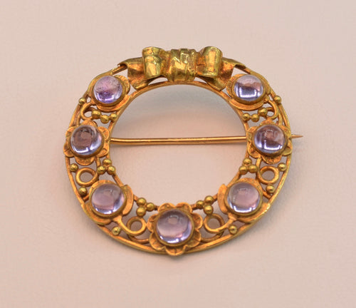 18K yellow gold Circle Brooch with Amethysts