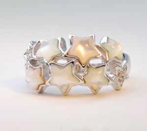 Mother-of-Pearl Stars and Diamond Ring in 14K White Gold