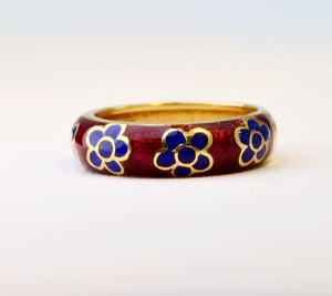 18K Red Enamel band with blue enamel flowers