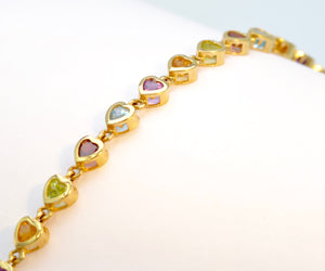 14K Multi-Gem Bracelet with 15 Heart-Shaped Gems