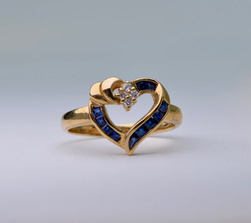 14K Yellow Gold Sapphire Heart Ring with Diamond Accent