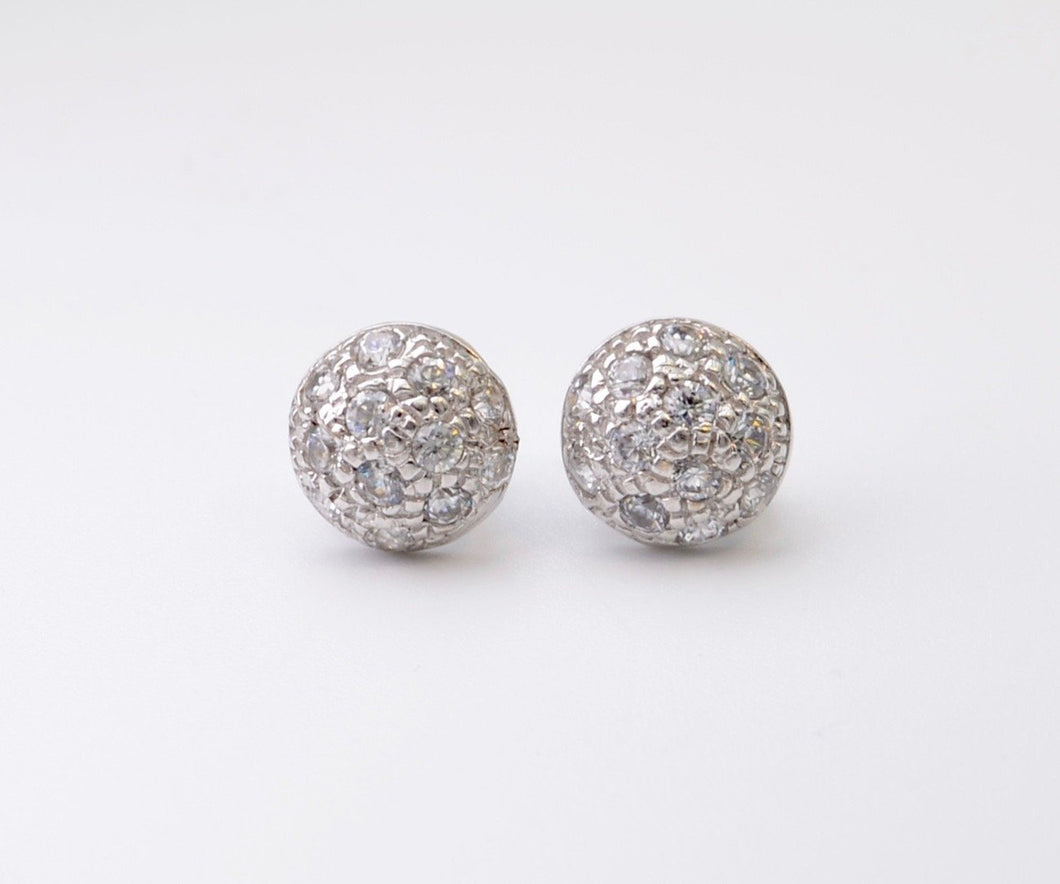 18K White Gold CZ Dome Earrings