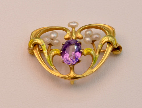 14K Art Nouveau Multi-Color Enamel with Amethyst Brooch