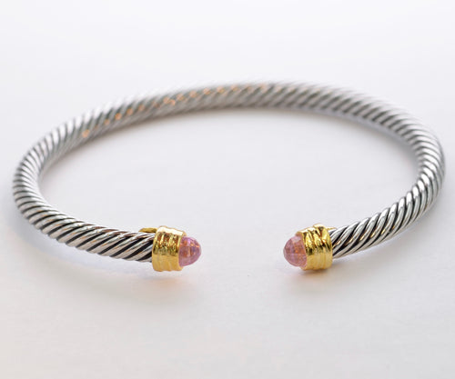 Bangle with Faceted Pink Stone