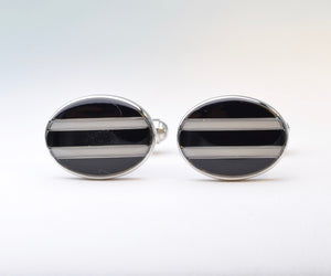 Black-and-White Striped Cufflinks