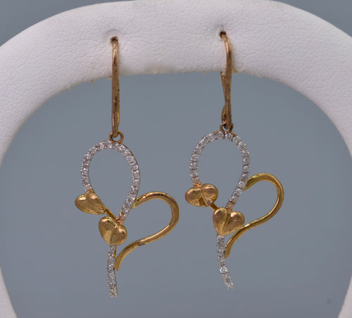 10K yellow gold and diamond heart-shaped earrings