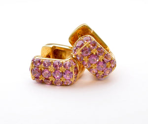 18K Yellow Gold Tourmaline Huggies