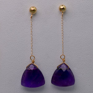 14K yellow gold Amethyst Dangle Earrings