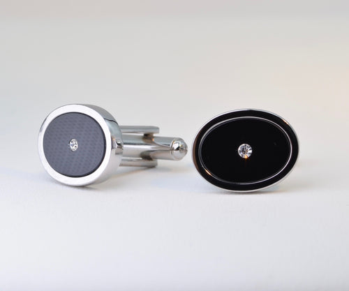 Classic Cufflinks with Oval Onyx and Cubic Zirconia Accent