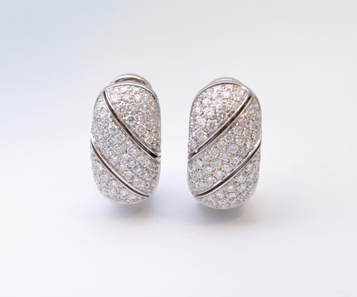 18K White Gold and Diamond Pave Earrings