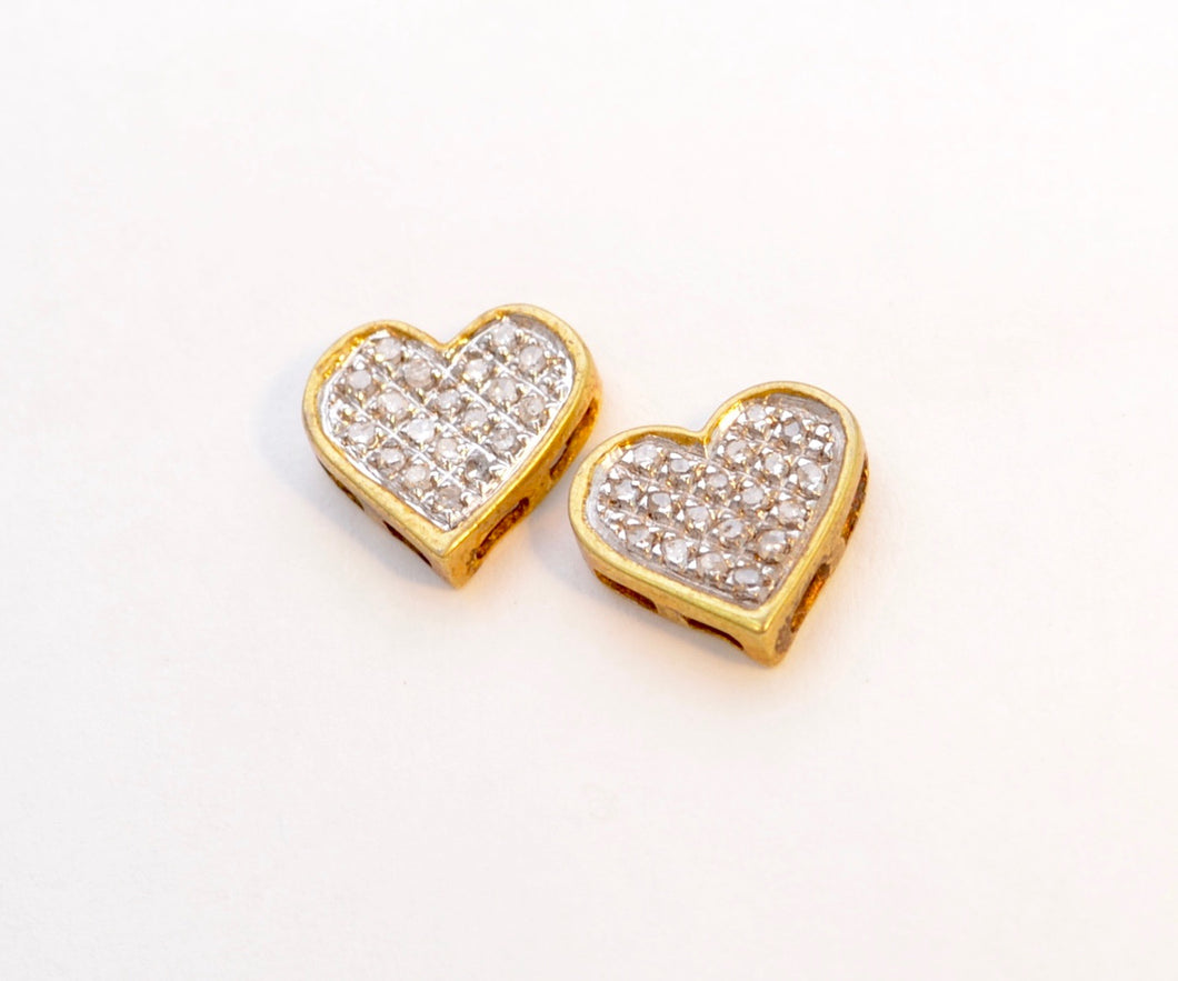 Sterling Silver/Gold Plated Heart-Shaped Diamond Post Earrings
