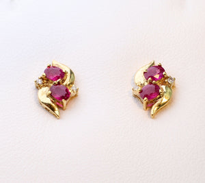 14K yellow gold post earrings with Rubies and Diamonds
