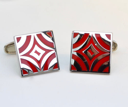 Red Enamel Square Cufflinks