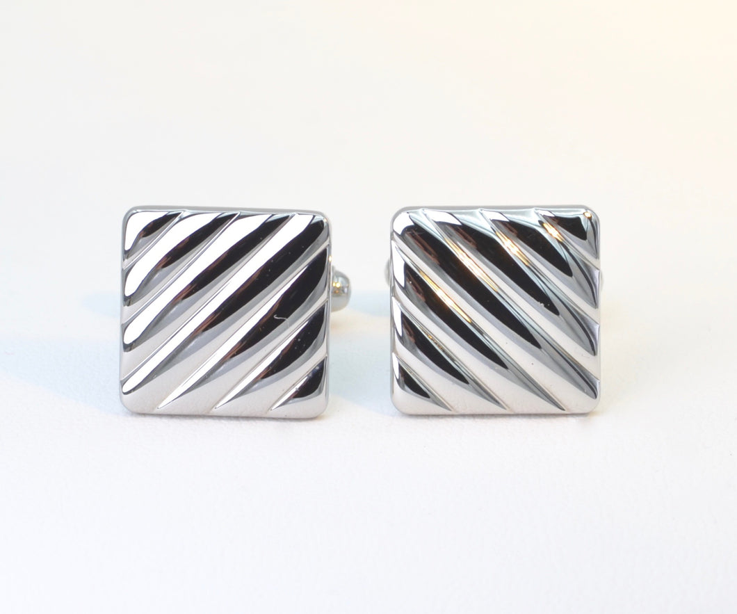 Stainless Steel Square Cufflinks with Diagonal Channels