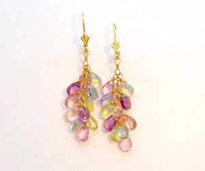 "Assorted Gem ""Hanging Grapes"" Dangle Earrings in 14K Yellow Gold"